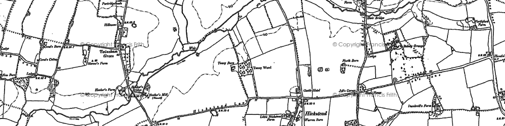 Old map of Hickstead in 1896