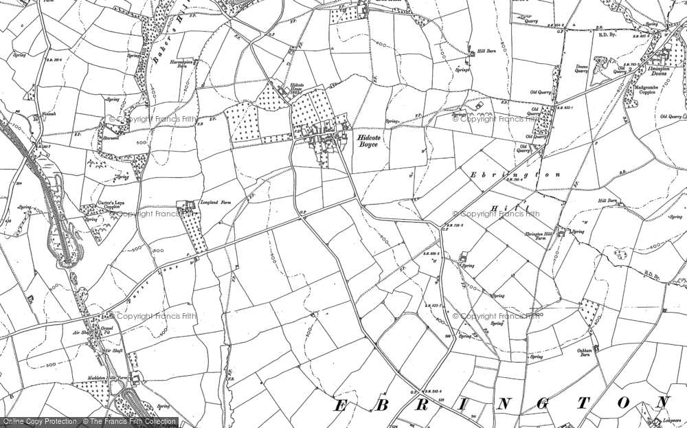 Old Map of Historic Map covering Baker's Hill in 1900