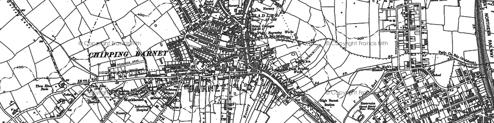 Old map of High Barnet in 1913