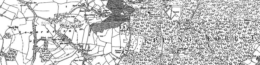 Old map of Wood Green in 1895