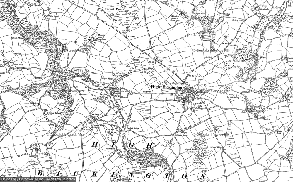 Old Map of Historic Map covering Bale's Ash in 1886