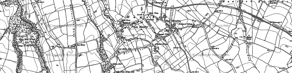 Old map of Widdy Field in 1892