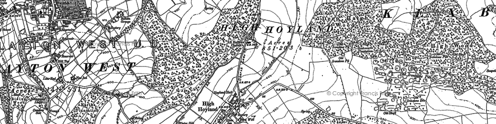Old map of High Hoyland in 1891
