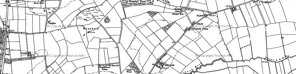 Old map of Wide open Dykes in 1888