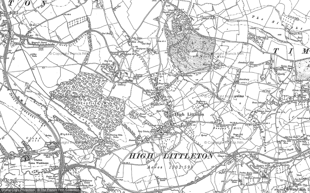 Old Map of Historic Map covering Timsbury Bottom in 1883