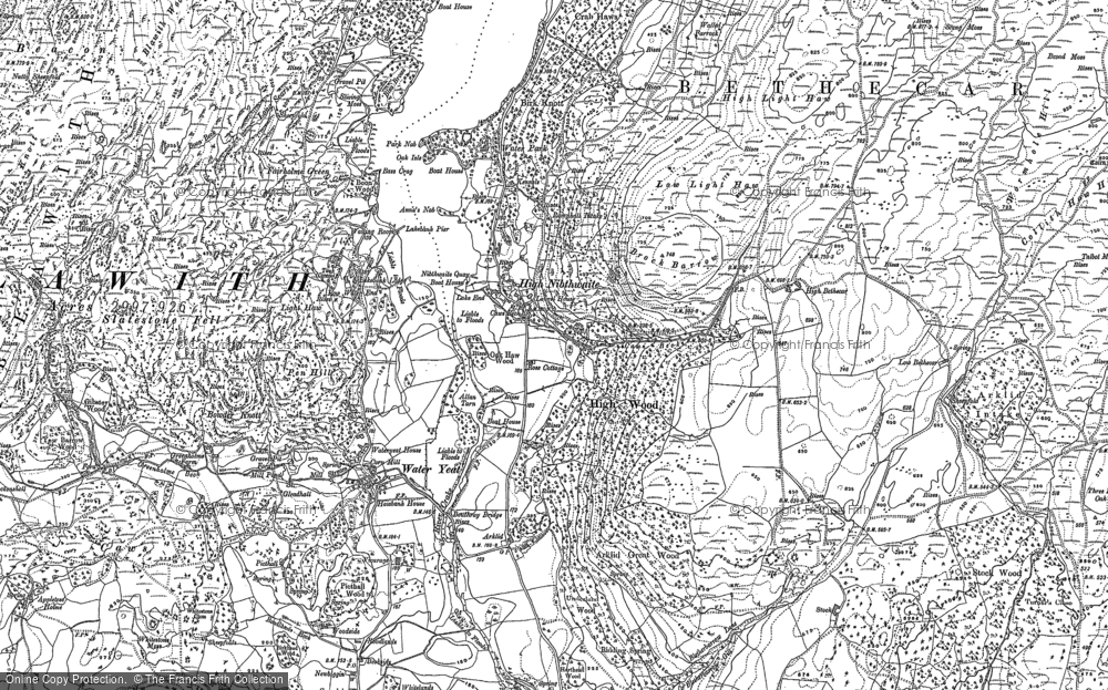 Old Map of Historic Map covering Allan Tarn in 1911