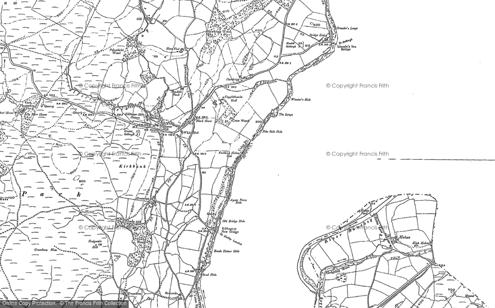 Old Map of Historic Map covering Abbot Holme in 1896