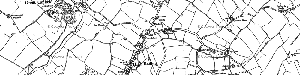 Old map of Bacon End in 1895
