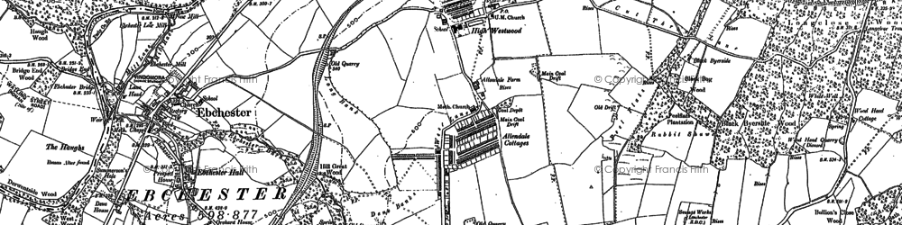Old map of Allendale Cottages in 1915