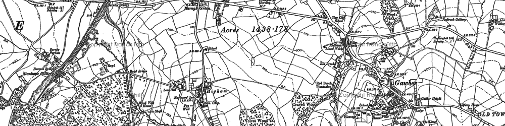Old map of Higham Common in 1851