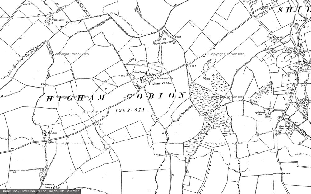 Old Map of Higham Gobion, 1899 in 1899