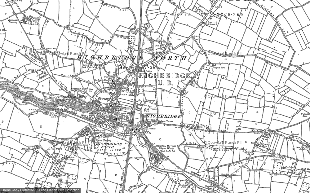 Old Map of Historic Map covering Alstone in 1884
