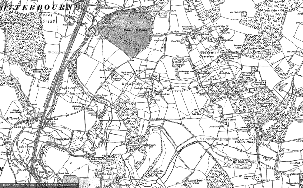 Old Map of Historic Map covering Allbrook in 1895