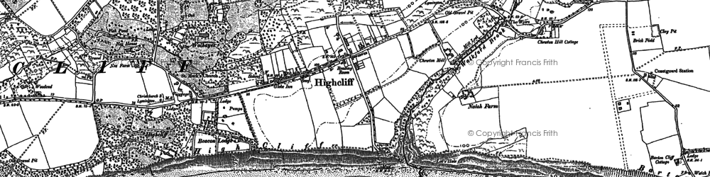 Old map of Highcliffe in 1907
