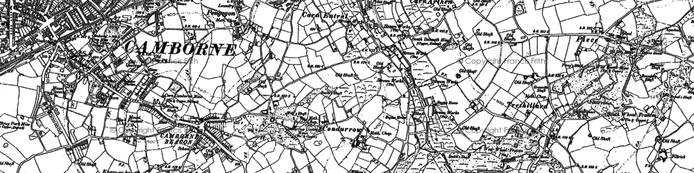 Old map of Higher Condurrow in 1878