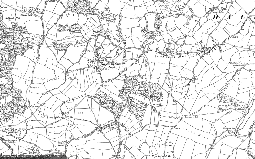 Old Map of Historic Map covering Wood Fold Hill in 1901