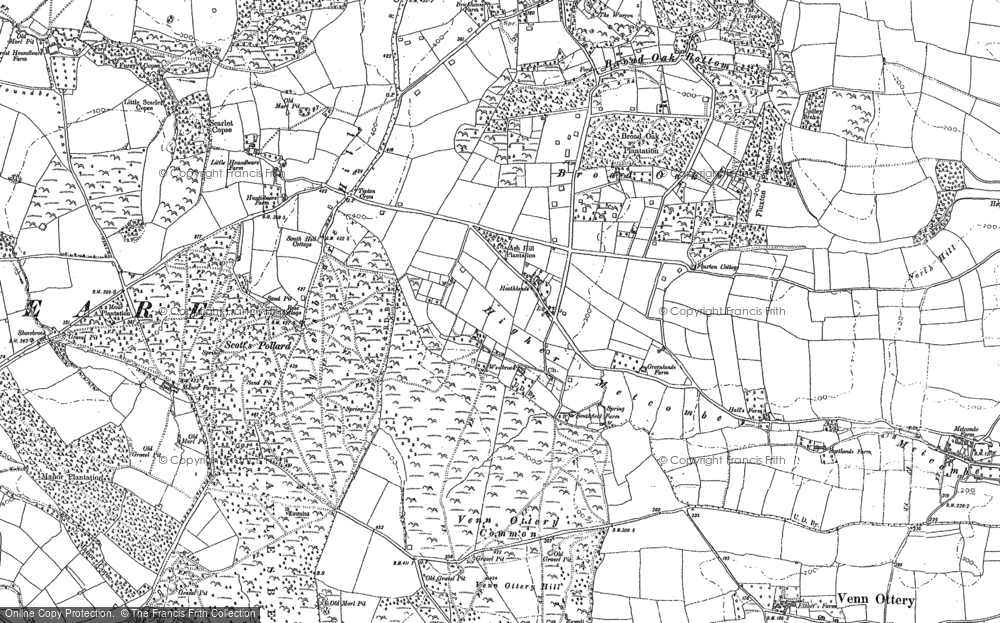 Old Map of Historic Map covering Aylesbeare Hill in 1888