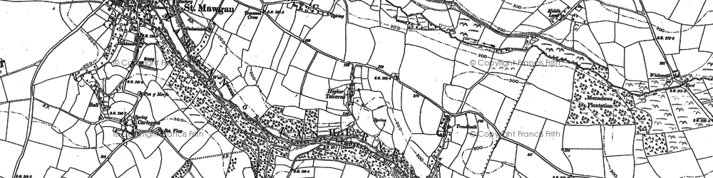 Old map of Lower Denzell in 1880