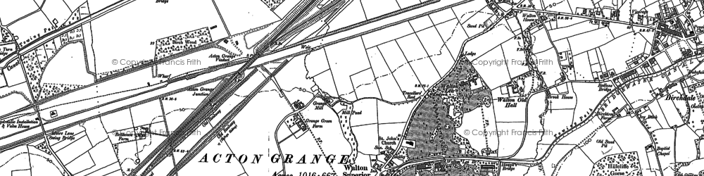 Old map of Higher Walton in 1908