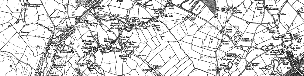 Old map of Withnell Fold in 1893