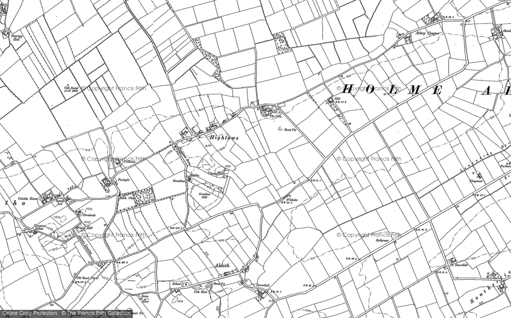 Old Map of Historic Map covering Abbey Cowper in 1899
