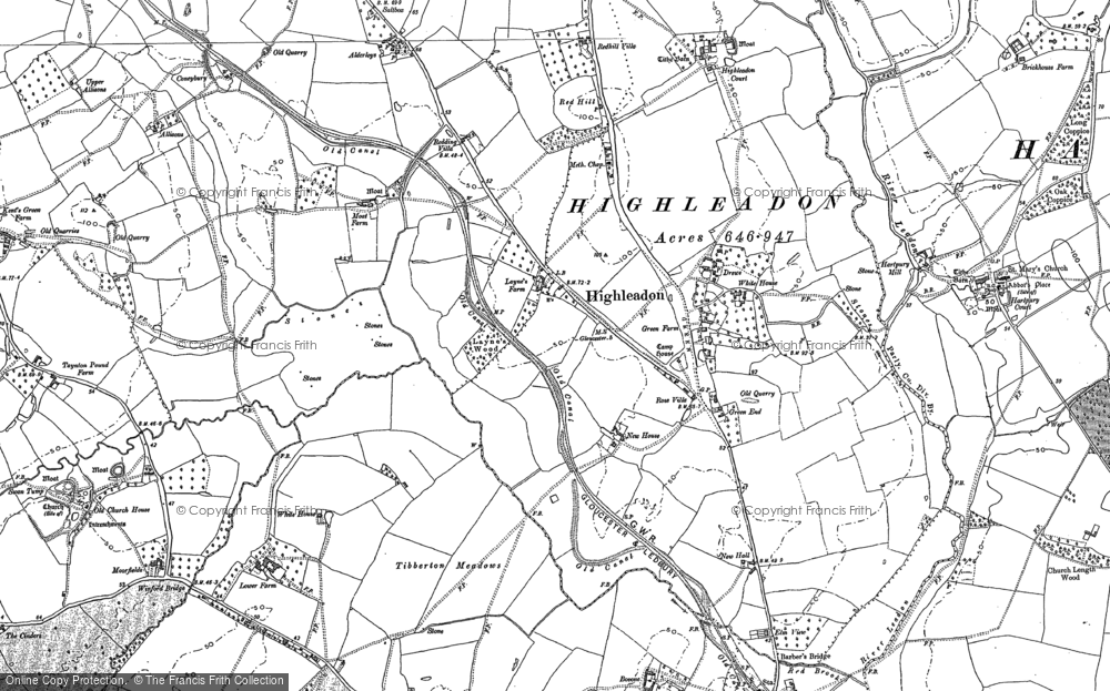 Old Map of Historic Map covering Limbury in 1882