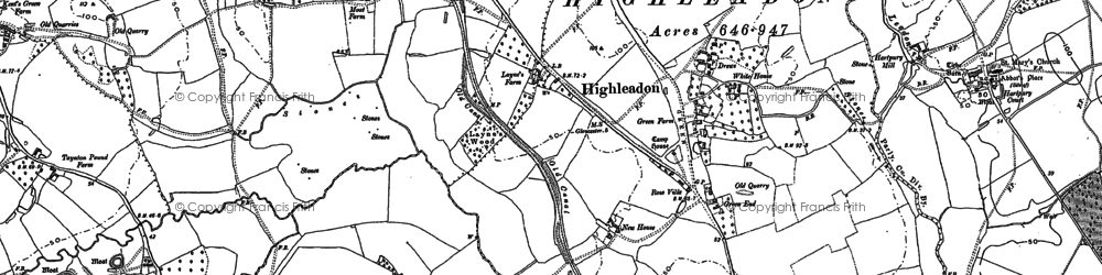 Old map of Limbury Hill in 1882