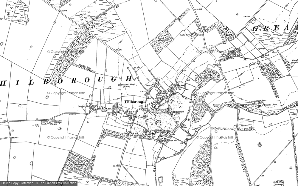 Old Map of Historic Map covering Limekiln Platation in 1883