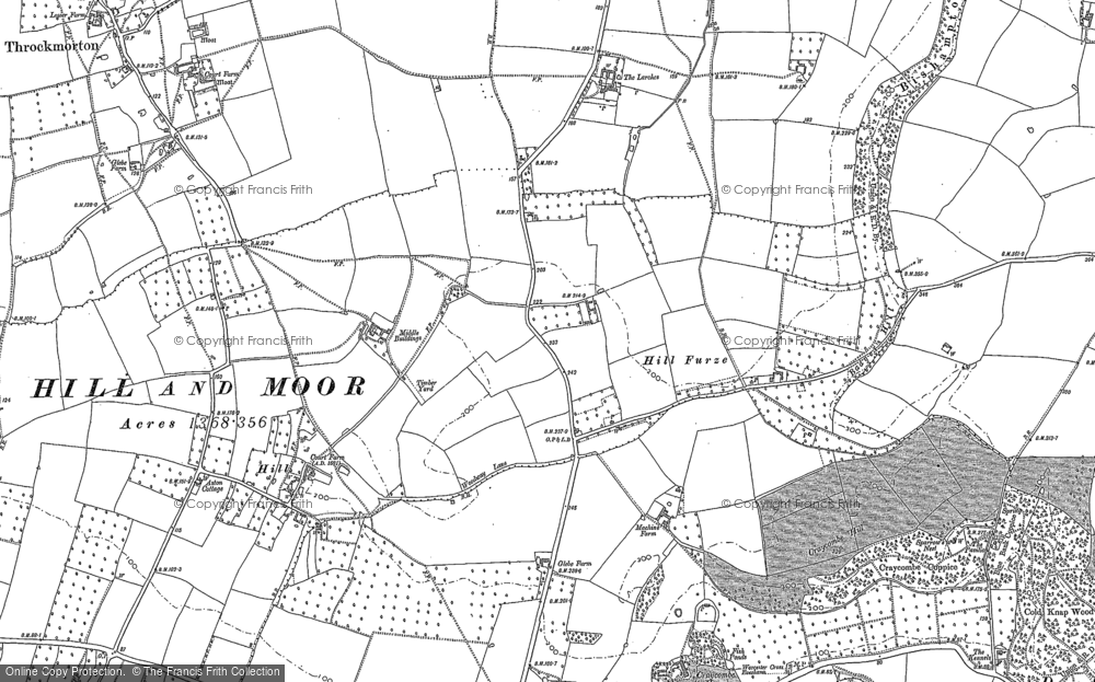 Old Map of Historic Map covering Badger's Hill in 1884