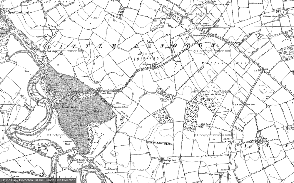 Old Map of Historic Map covering Langton Hall in 1891
