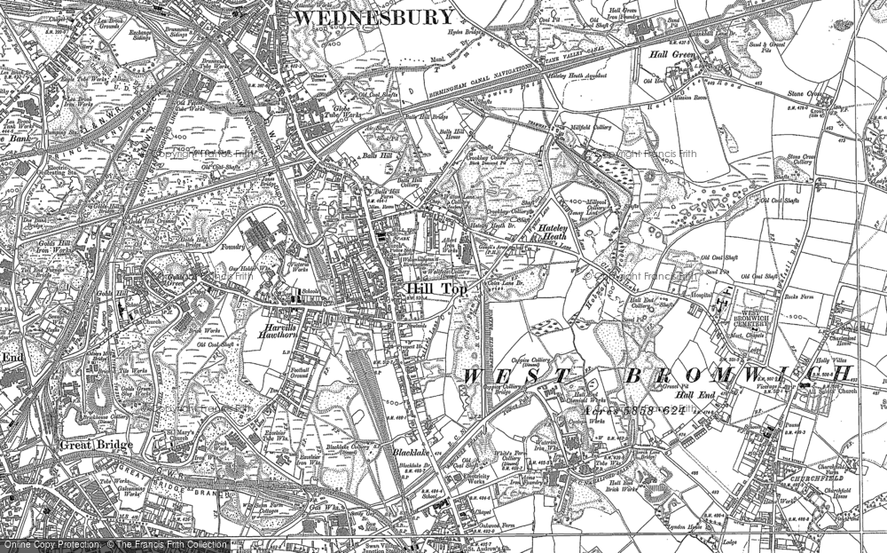 Old Map of Historic Map covering Balls Hill in 1902