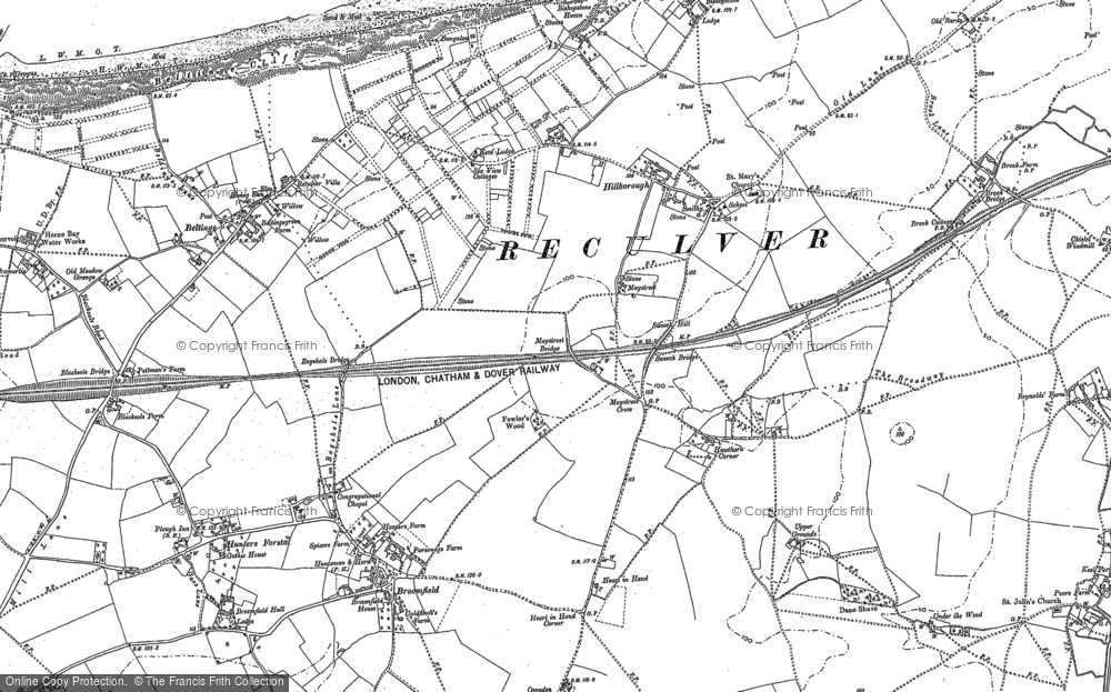 Old Map of Historic Map covering Beltinge in 1906