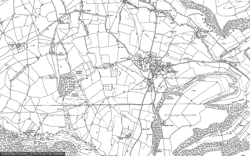 Old Map of Historic Map covering Assley Common in 1881