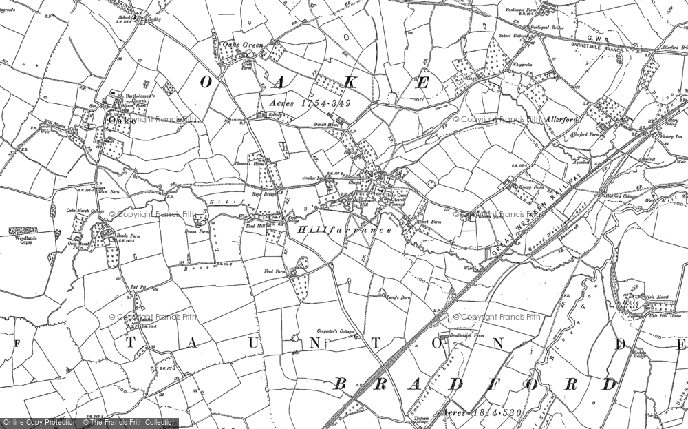 Old Map of Historic Map covering Allerford in 1887