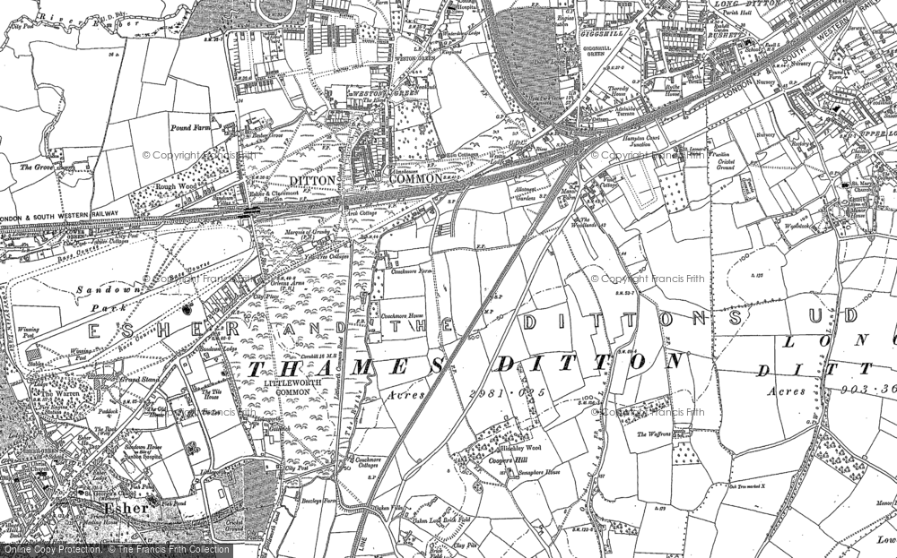 Old Map of Hinchley Wood, 1895 in 1895