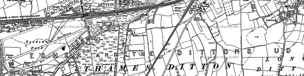 Old map of Hinchley Wood in 1895