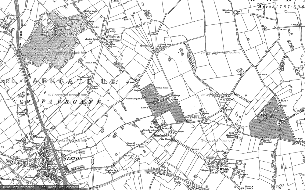 Old Map of Historic Map covering Ashfield Hall in 1897