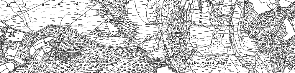 Old map of Hindhead in 1909