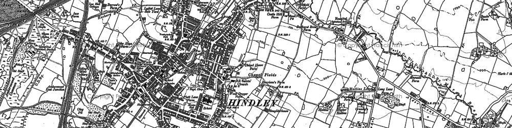 Old map of Hindley in 1892