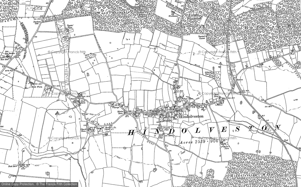 Old Map of Historic Map covering Wood Severals in 1885