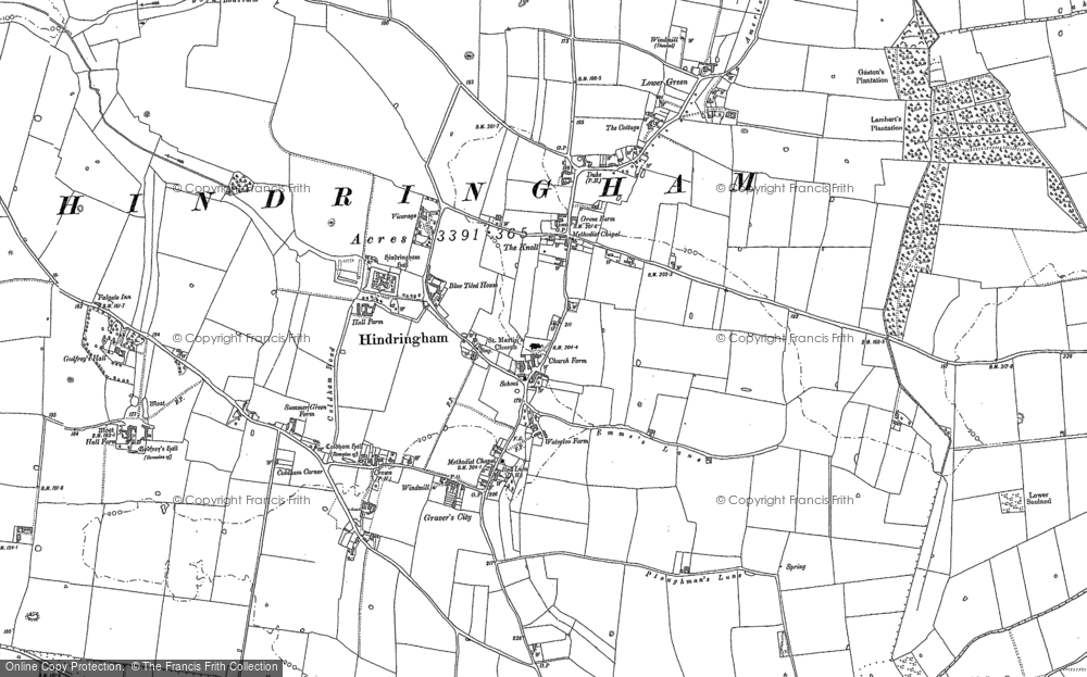 Old Map of Historic Map covering Thursford Common in 1885