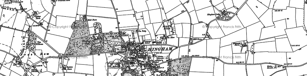 Old map of Hingham in 1882
