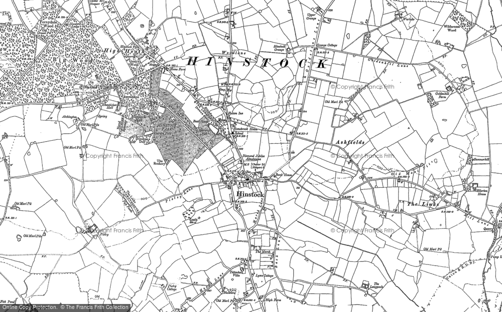 Old Map of Historic Map covering Ashfields in 1880