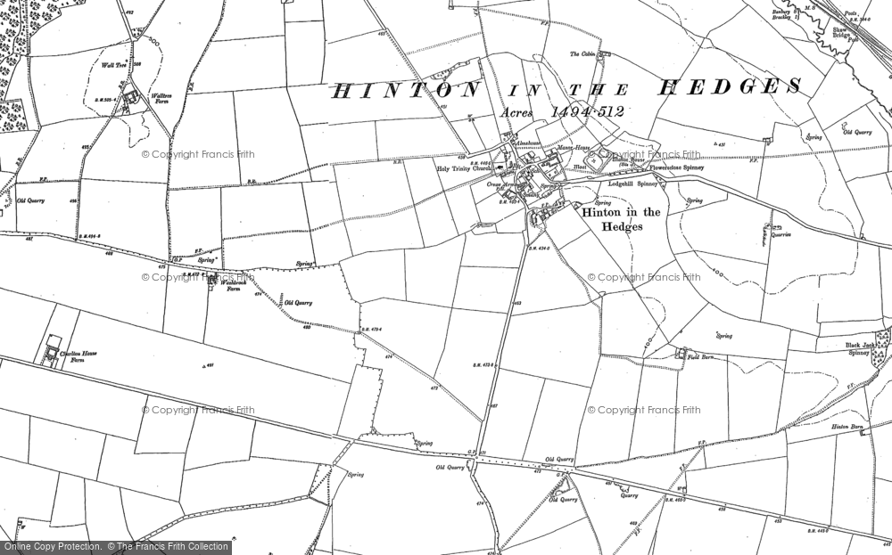 Old Map of Hinton-in-the-Hedges, 1898 in 1898