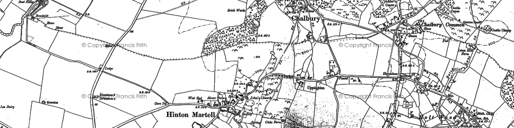 Old map of Hinton Martell in 1887