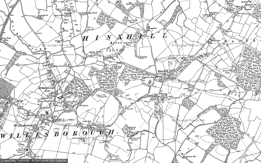 Old Map of Historic Map covering Willesborough Lees in 1896