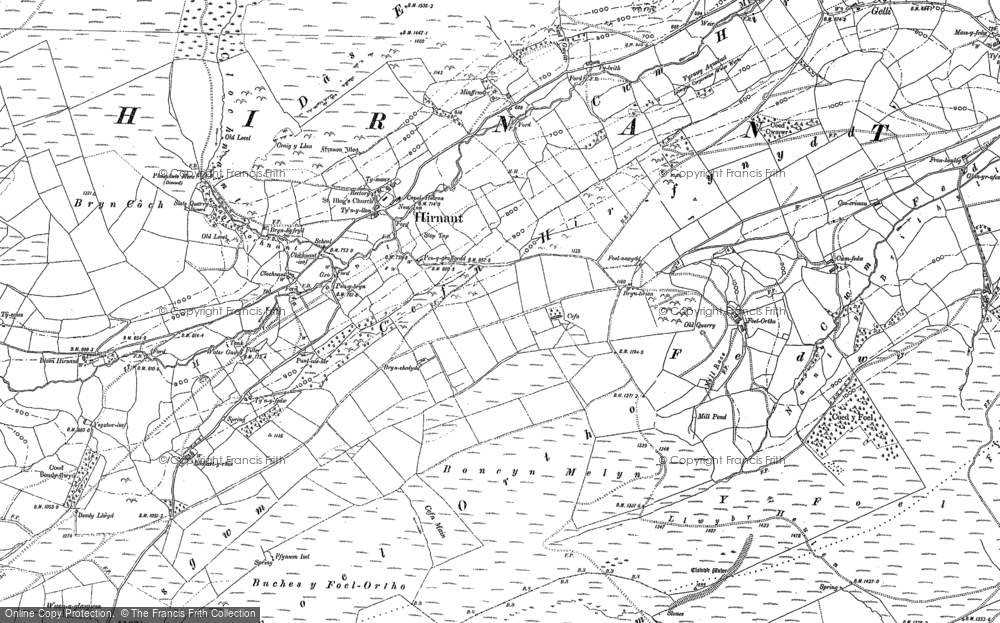 Old Map of Historic Map covering Bryn Coch in 1885