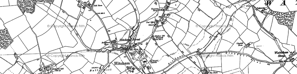 Old map of Wetherden Hall in 1884
