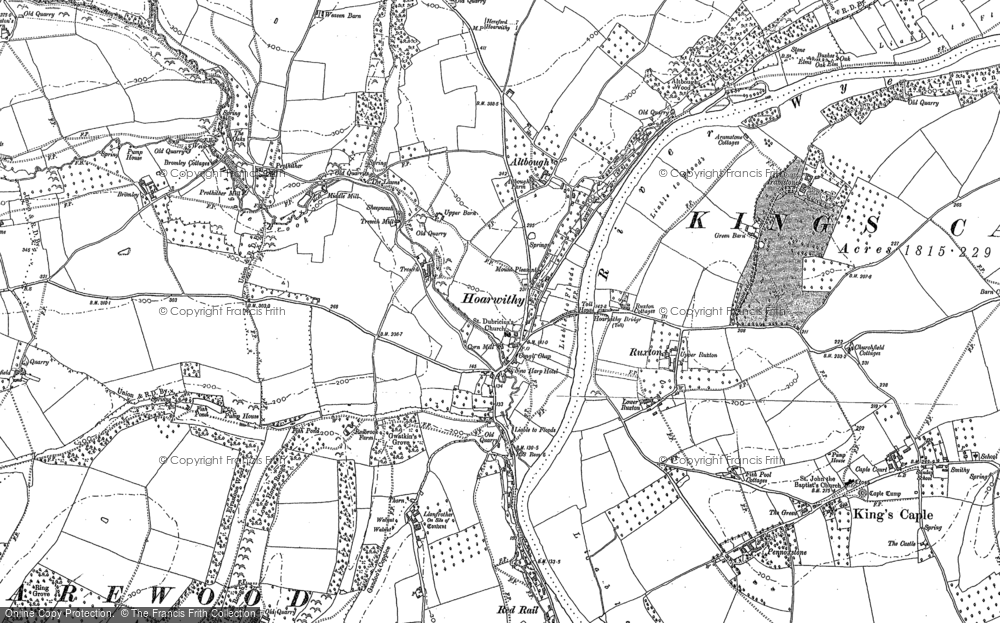 Old Map of Historic Map covering Altbough in 1887