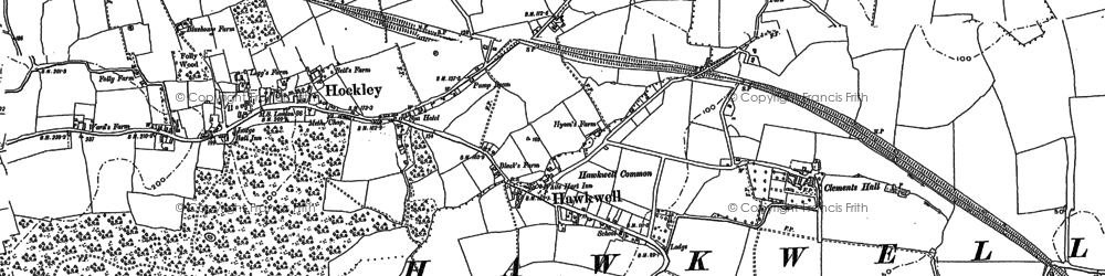 Old map of Hockley in 1895
